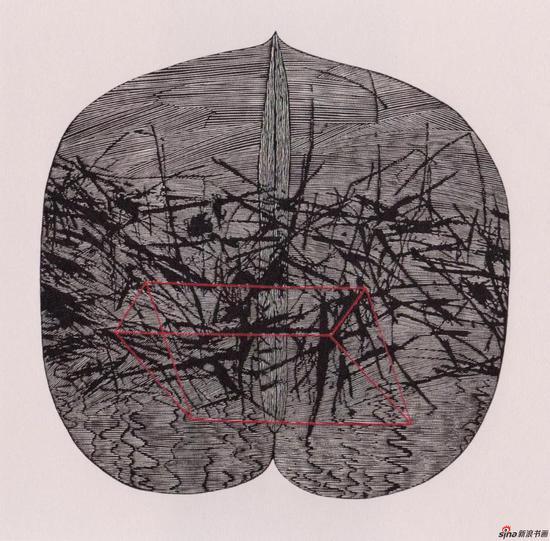 《牵》,2003年,65*65cm,木刻版画