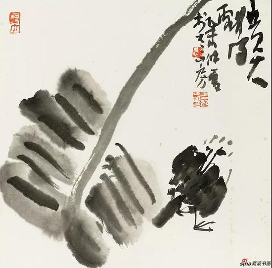 王迎春作品《聆雨》 34cm × 35cm 2017