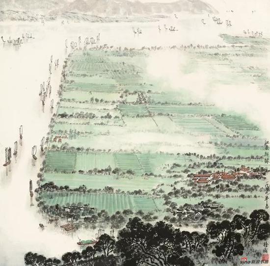 徐孅,江南新绿,1979,64.5×65cm,纸本水墨设色,中国画