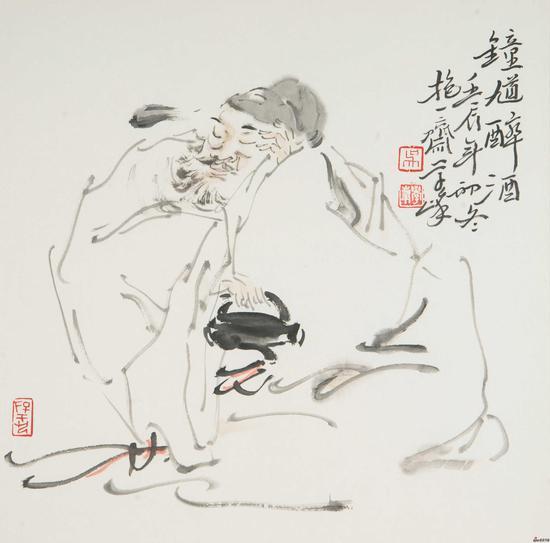 吴学峰作品《钟馗醉酒》34X34cm 2012年