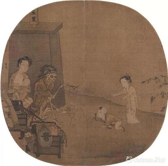 (宋)李嵩 骷髅幻戏图 绢本设色 纵27厘米 横26.3厘米 北京故宫博物院藏