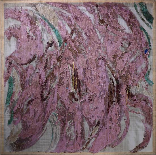 《记忆碎片·1》147×147cm 大漆、苎麻、木屑 2018