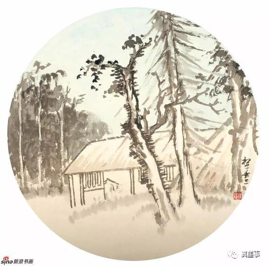 刘双喜《山水小品》42×42cm