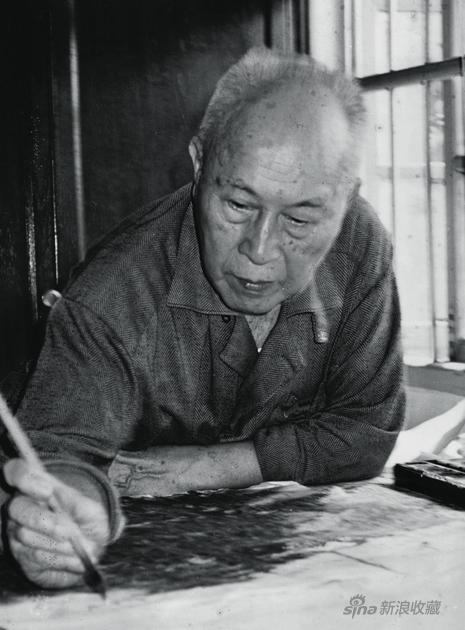 1999年89岁的黎雄才在广州居所画室中