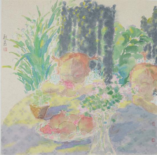 4 韦红燕 《桌边女孩7》 纸本设色 96.5x70cm 2014年