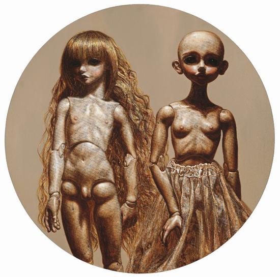 程竹 《玩偶》 布面油画 直径100cm 2013年