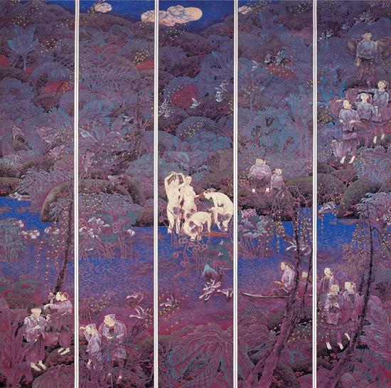 9。陈孟昕《暖月亮》中国画 230cm×220cm 2004年 中国美术馆藏