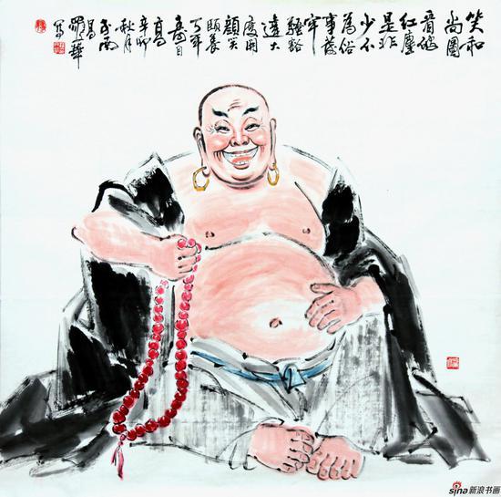 罗文华作品《笑和尚图》 124X124cm