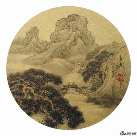 刘熹奇作品《深山观瀑》径34cm 2010年