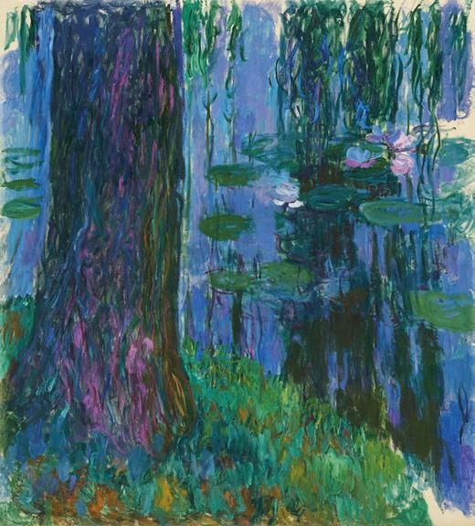 克劳德·莫奈 (Claude Monet)《垂柳与睡莲池》油彩 画布