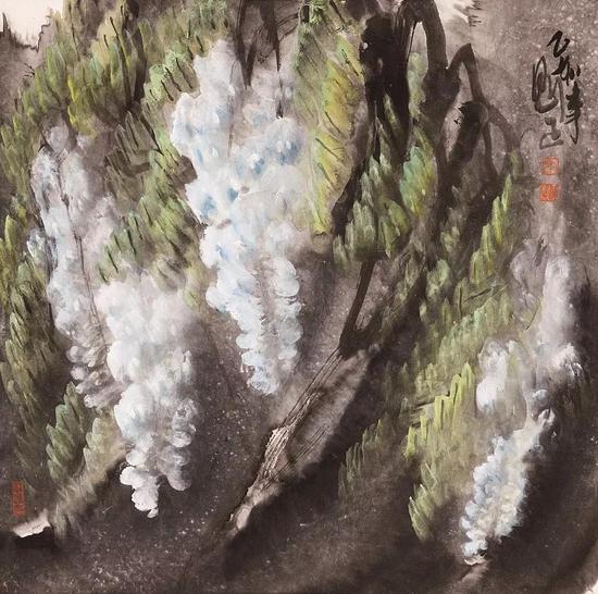李魁正 《春深藤花》 91.5x69.5cm
