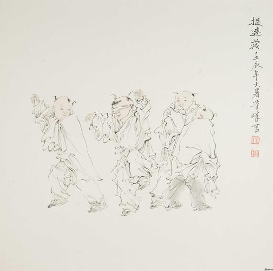 吴学峰作品《捉迷藏》68X68cm 2012年