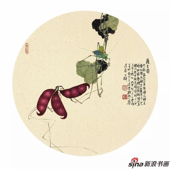 獲豆图 42cm×42cm