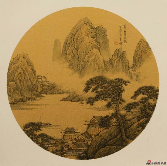 刘熹奇作品《青山云水阁》径36cm 2013年