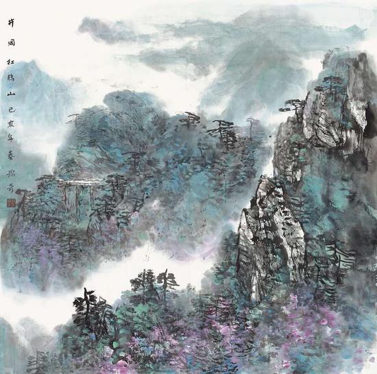 刘称奇《井冈杜鹃山》70cm×70cm