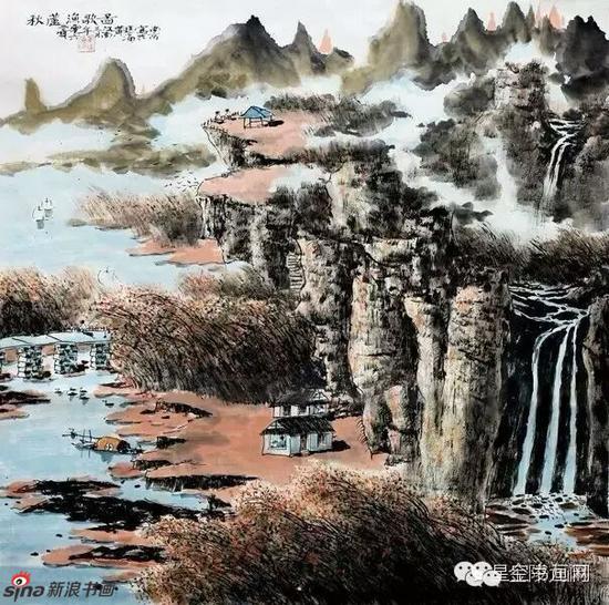 《秋芦渔歌图》,69cmX69cm,2006年,黄廷海作