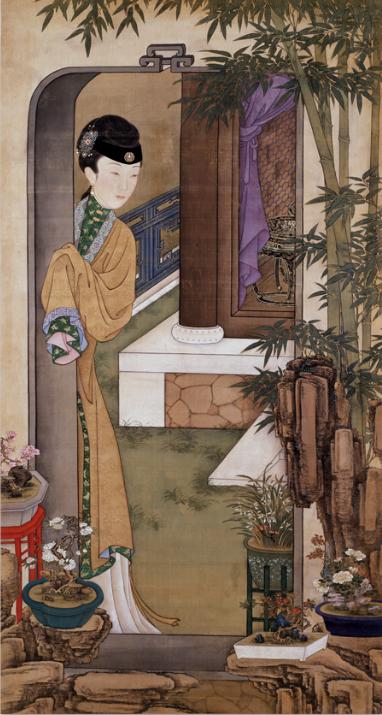 参阅:清 佚名 《雍亲王题书堂深居图十二屏》(部分) 故宫博物院藏