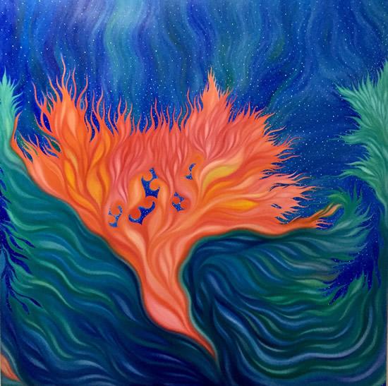 天使之城 布面油画 100cmx100cm