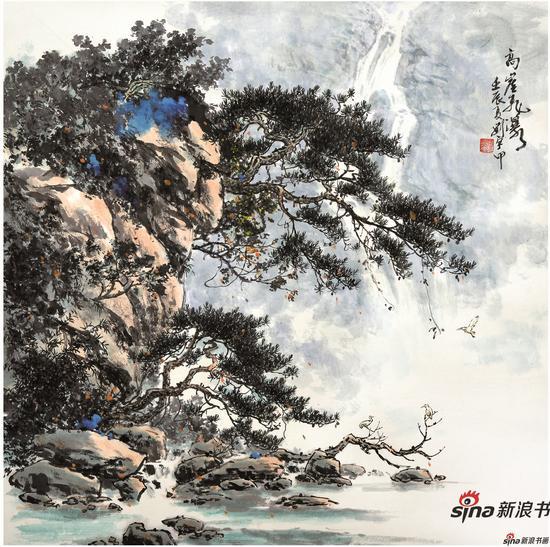 高崖飞瀑 68X68cm 2012年