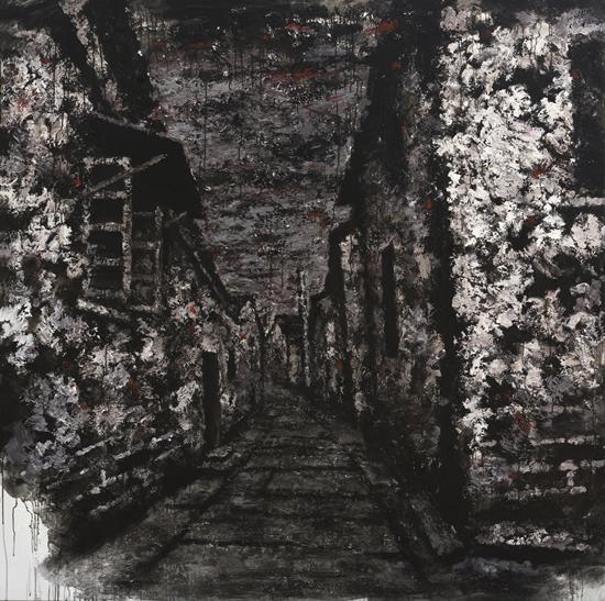 逝色·消逝的祝家园巷 布面综合媒材200x200cm2015