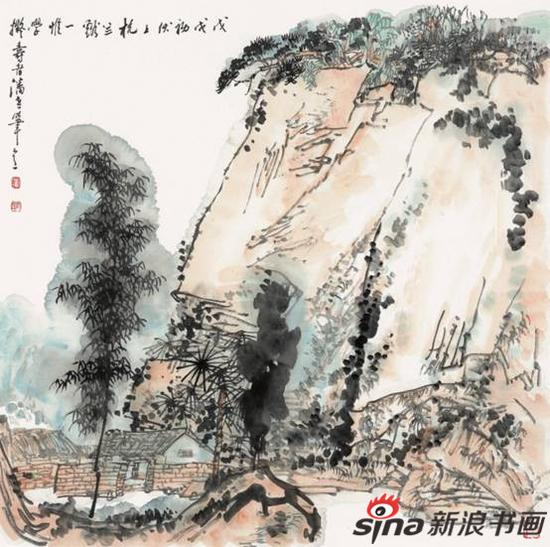 丘玮作品《拟潘天寿笔意》68X68cm