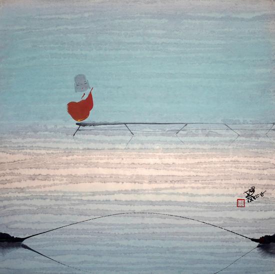 随意江南雨中看 作品材质:纸本水墨 作品尺寸:50×50cm 创作年代:2018年