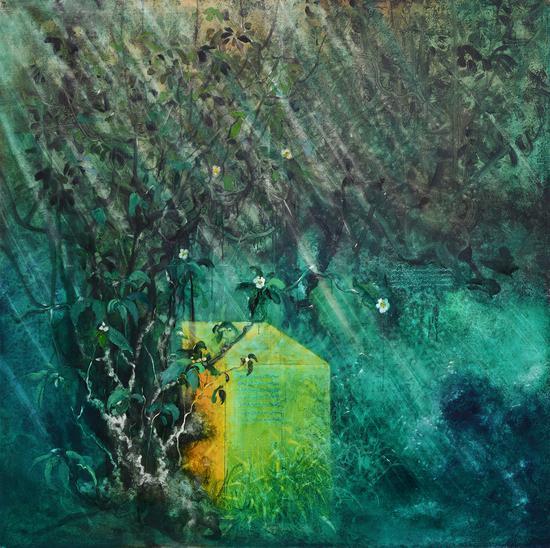李瑞《古茶树》布面油画150x150cm2017s