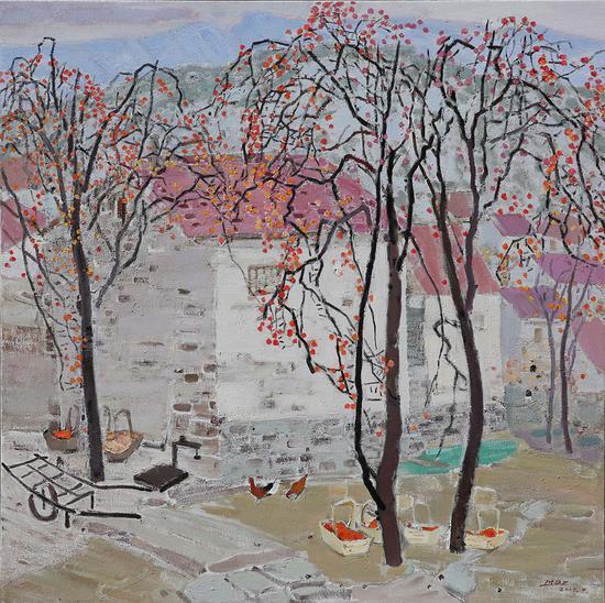 24《屋后的柿子树》毛岱宗 150cm×150cm 布面油画 2017年