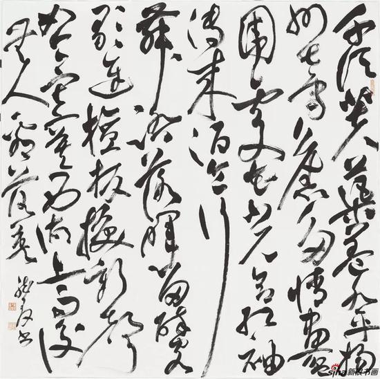 欧阳修《答通判吕太博》,草书,纸本,124×124cm,2018年