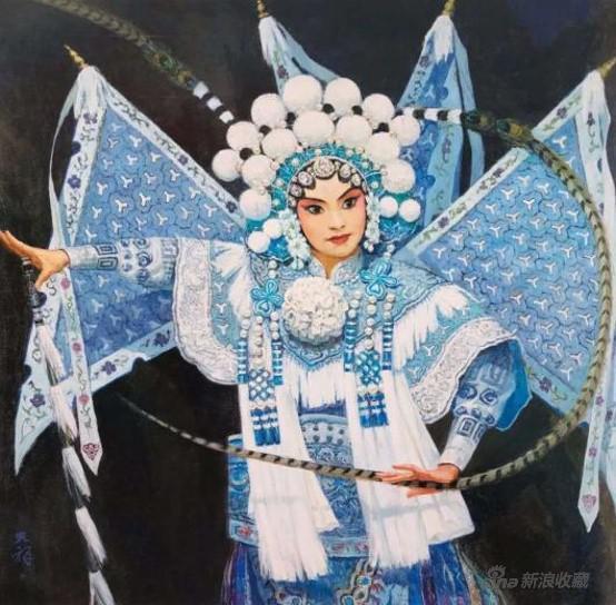 李天祥 《 穆桂英夜闯葫芦谷》 120×120cm 布面油画 2012年