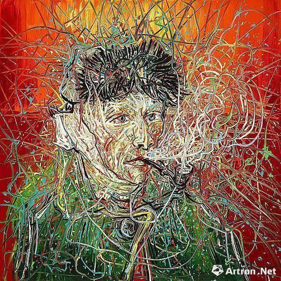 曾梵志创作的红色背景梵高像《Van Gogh III 》 2017年