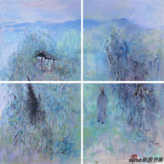 王浩辉 随园 100×100cm×4 2018 布面油画