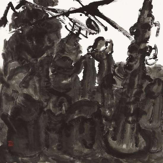 尚莹辉《有乐器的静物之七》69cm×69cm
