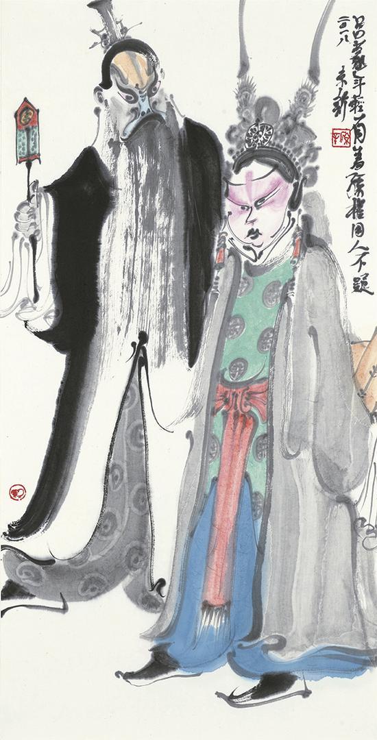 周京新 三国人物之五 68×34cm 纸本设色 2018