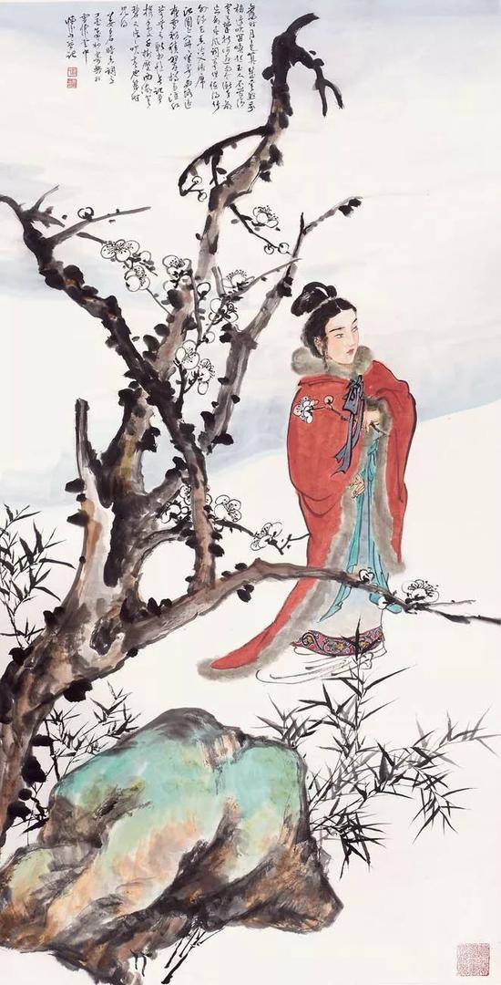 刘怀山 姜白石暗香词意 137×68cm 纸本设色 2017