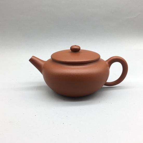 现代朱泥摹古平盖壶