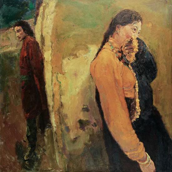 陈逸飞   西藏的男人和女人   布面油画   150×150cm 2002