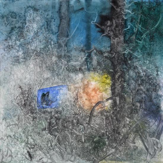 李瑞《陨落星蓝》布面油画150x150cm 2017s