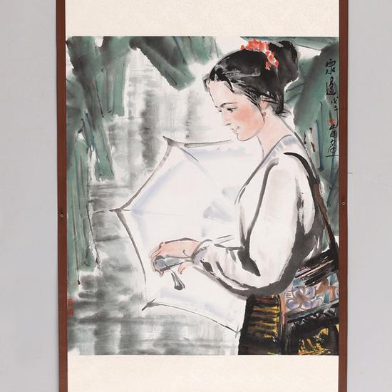 吴山明(1941~) 泉边   起拍价RMB:12,000   成交价RMB:132,000