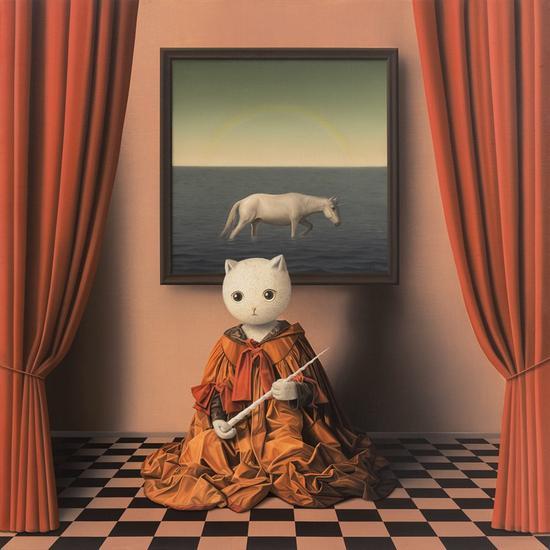 张凯《伊里丝与独角兽》100×100cm 布面油画 2018年