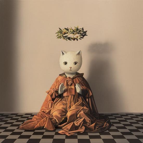 张凯《掌中的伊里丝》80×80cm 布面油画 2018年