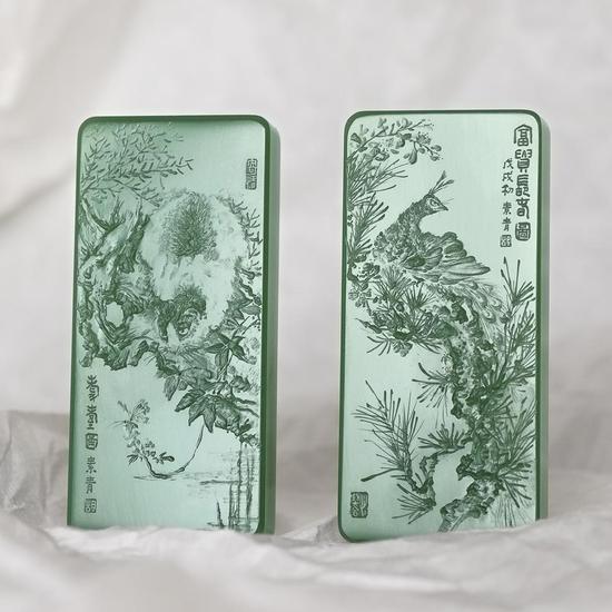 02802号拍品胡玮 和田玉鸭蛋青耄耋富贵长春对牌 起拍价:RMB 50000