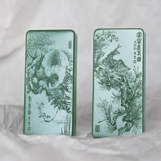 胡玮 中国玉石雕刻名家  02802胡玮 和田玉鸭蛋青耄耋富贵长春对牌