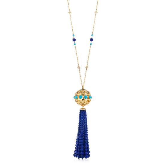 蒂芙尼帕洛玛-毕加索Marrakesh18K金镶青金石钻石和绿松石流苏吊坠
