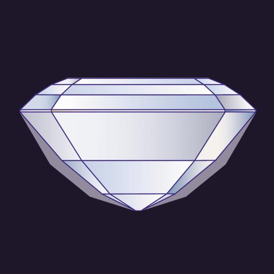 额外凸起的部分(显示为轮廓两侧的灰色区域)增加了钻石的重量,但却并未增强钻石的美感,从正面上方欣赏时也不会使钻石看起来更大