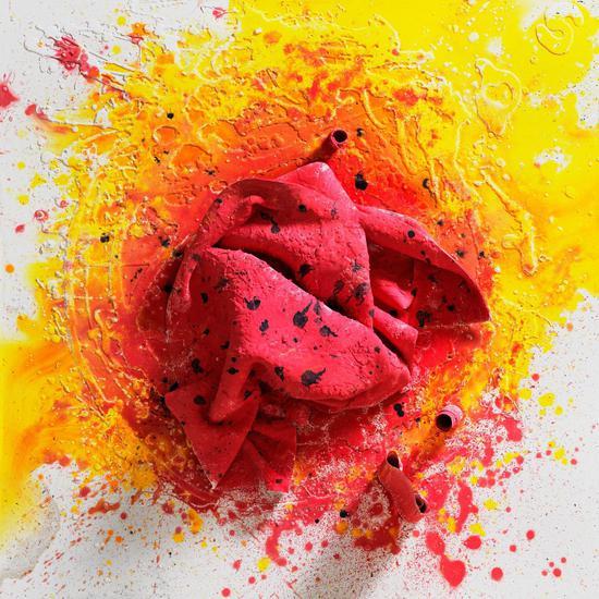 瓷板画《绽放的玫瑰》50cm×50cm