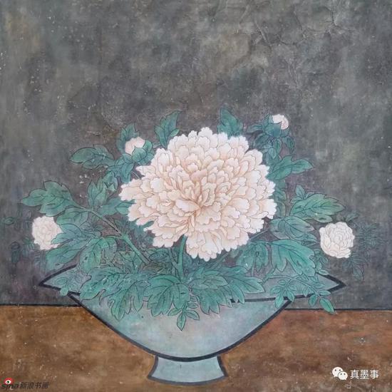 解丁泉《牡丹》57×57cm