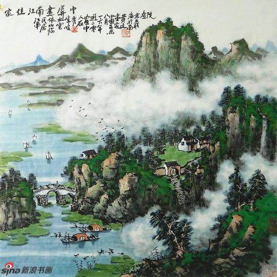 《家住江南画屏中》,69cmX69cm,2016年,黄廷海作