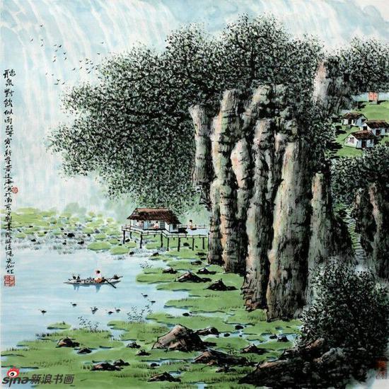《听泉对饮似雨声》,69cmX69cm,2008年,黄廷海作