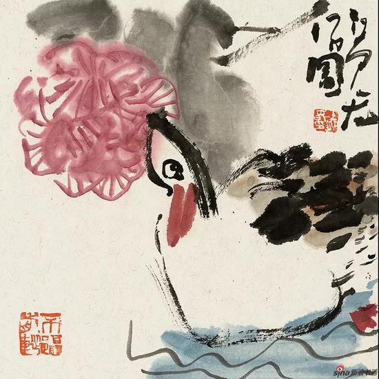 王迎春作品《芙蓉》31.5cm × 31.5cm 2017